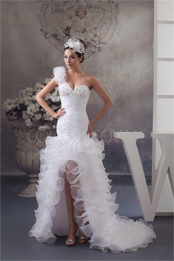 Robe de bal de promo sexy blanche jupe à volants en satin et organza