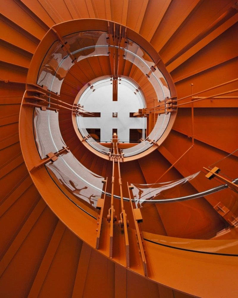 Fantastic steel stair at The ArtsQuest Center at SteelStacks by Spillman Farmer Architects. That's International Orange, same colour as the Golden Gate Bridge. Treppen Stairs Escaleras repinned by www.smg-treppen.de #smgtreppen