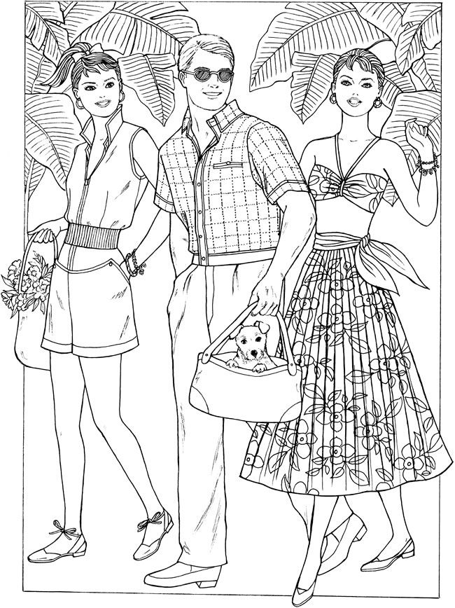 1950s fashion coloring pages for Fashion coloring pages