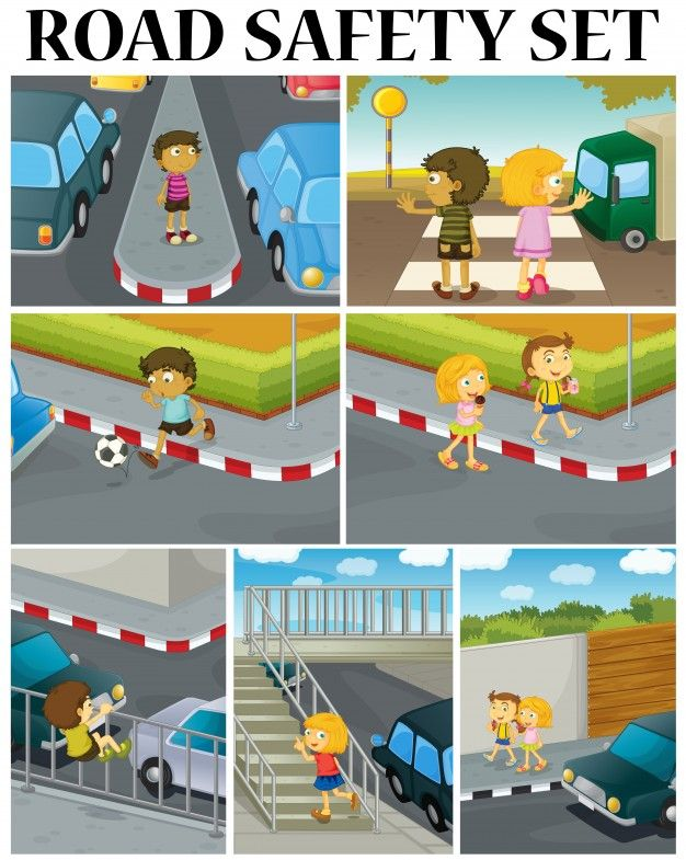 Download Scenes Of Children And Road Safety Illustration For Free