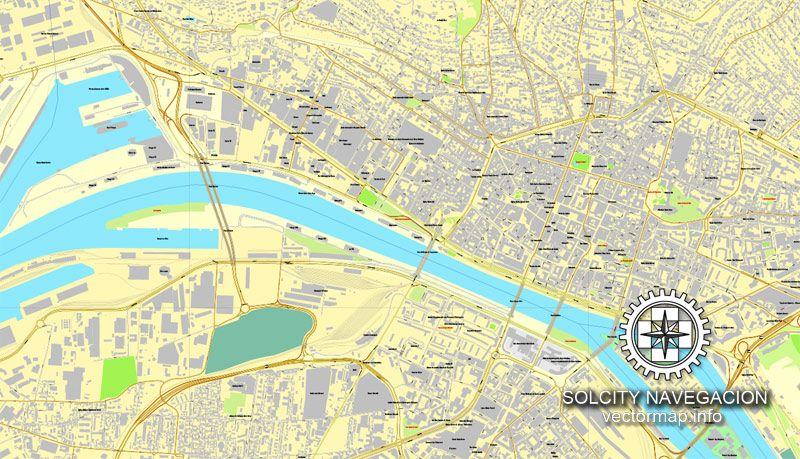Rouen, France printable vector street City Plan map, full editable ...