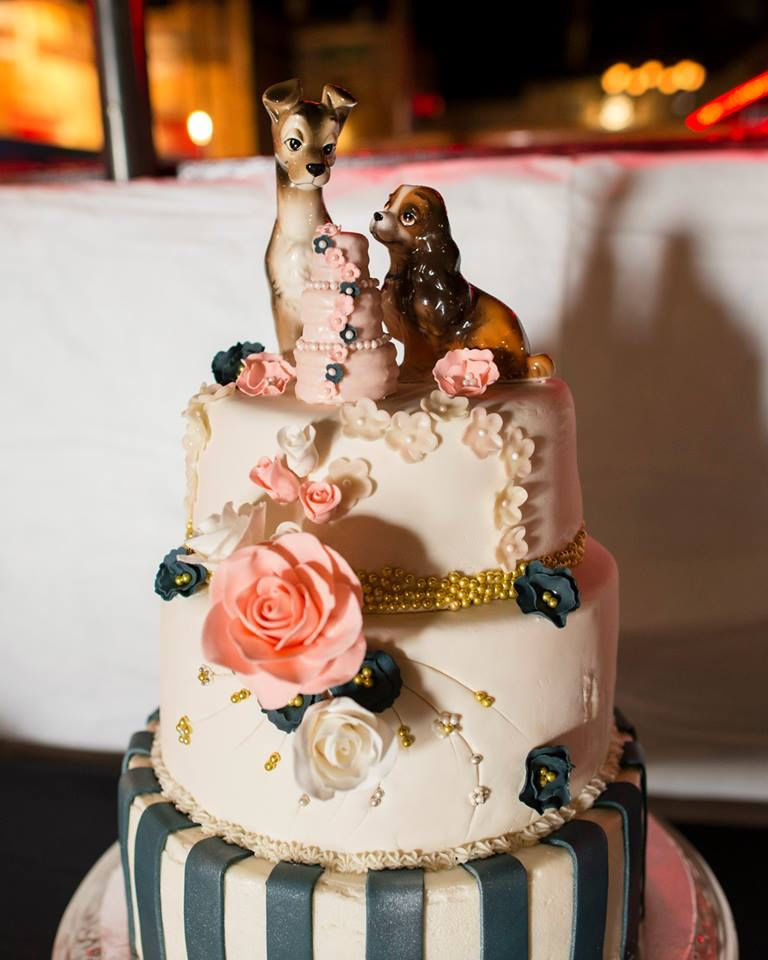 Lady And The Tramp Wedding Cake From Sweet A Home Bakery In Las Vegas Nm Navy Blue Stripes White Cool Wedding Cakes Simple Wedding Cake Disney Wedding Cake