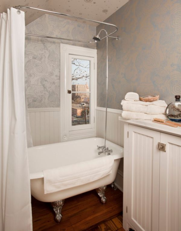 Traditional bathroom with a tiny clawfoot tub/shower