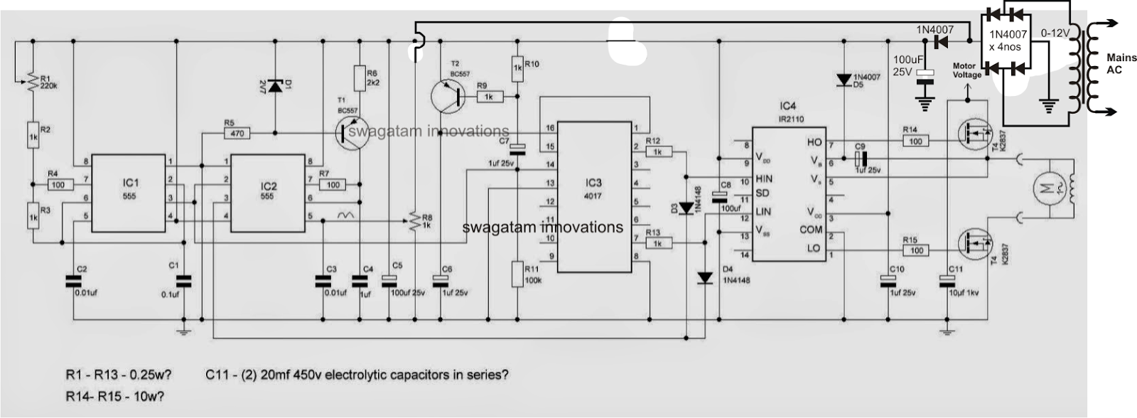 The post explains a simple variable frequency drive or VFD