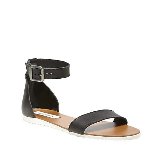WAIKIKI BLACK LEATHER women's sandal flat ankle strap - Steve Madden