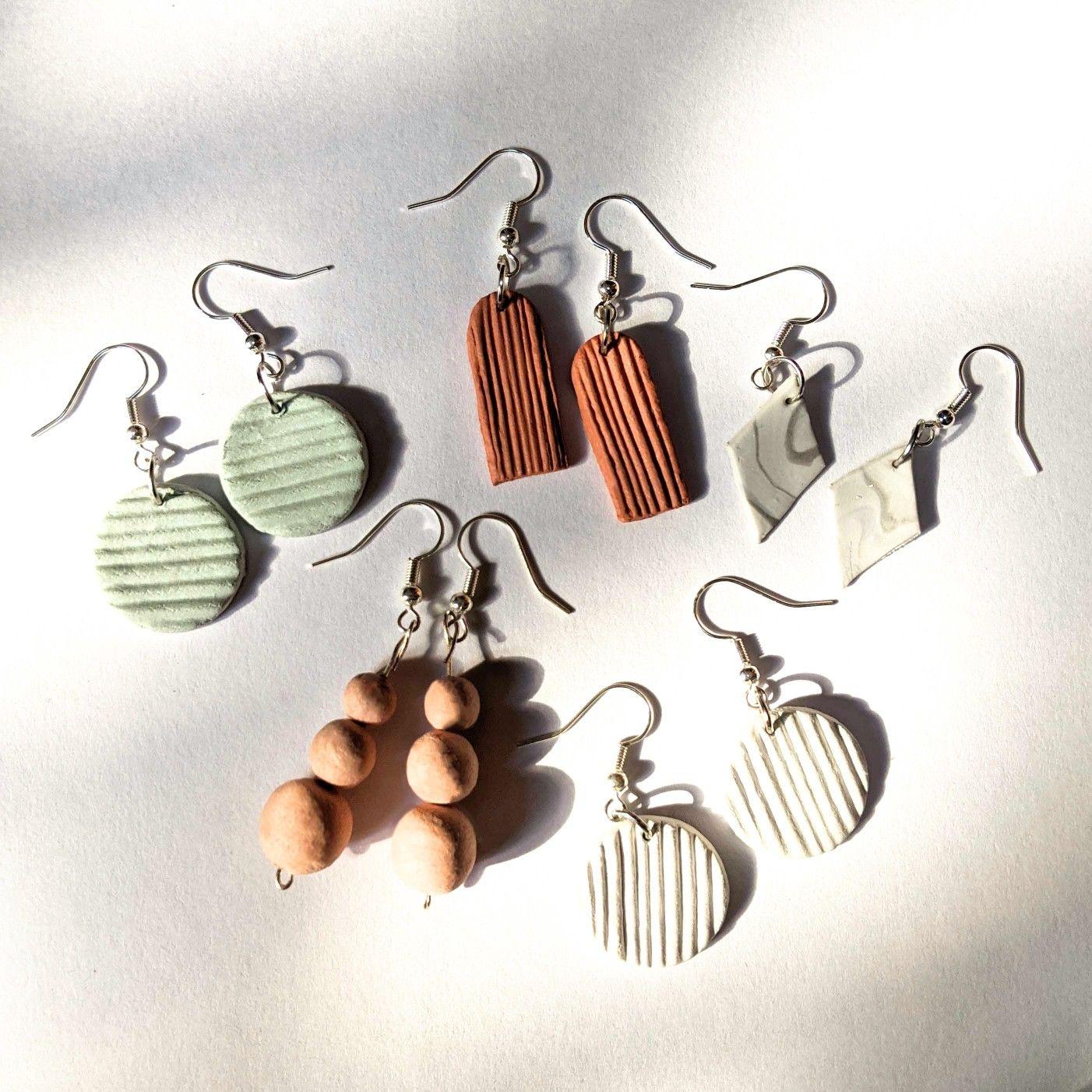 Air Dry Clay Earrings Diy Clay Earrings Polymer Clay Jewelry Polymer Clay Earrings