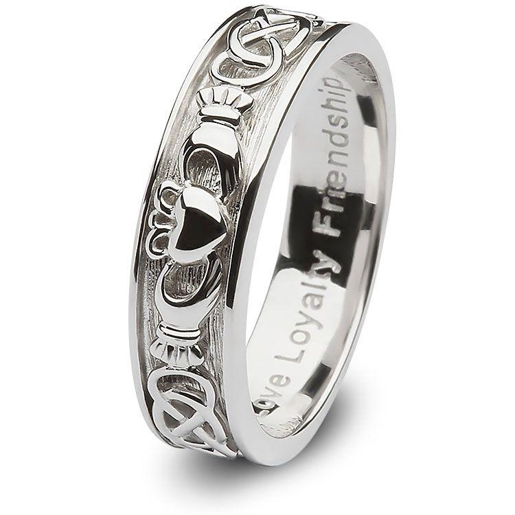 Ladies Sterling Silver Claddagh Wedding Ring SLSD8