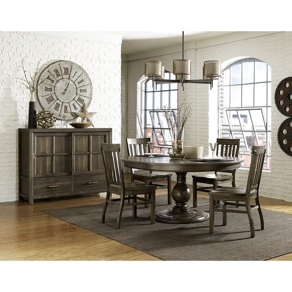 Karlin wood round oval dining table chairs in dry grey acacia by magnussen home