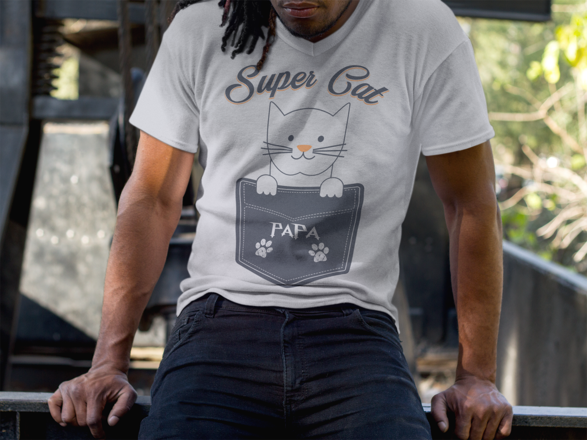 Super Cat Papa T Shirt - cat lovers gifts - cat lovers t shirts - Father's Day - Men's T-Shirt, Long Sleeve Tee. ***Printed in the USA