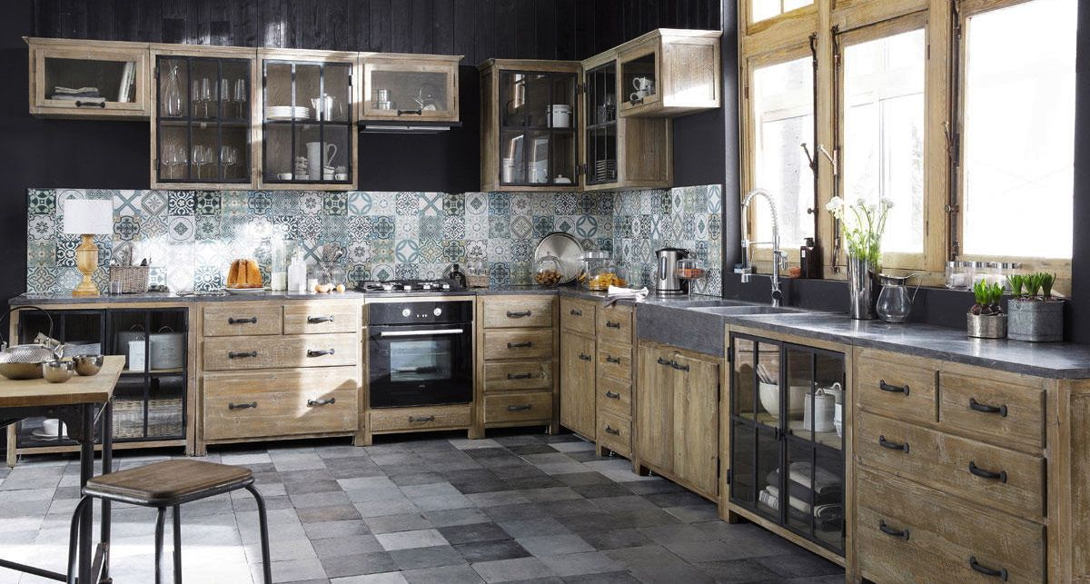 meubles de cuisine ind pendant et ilot maison du monde maison pine kitchen kitchen base. Black Bedroom Furniture Sets. Home Design Ideas
