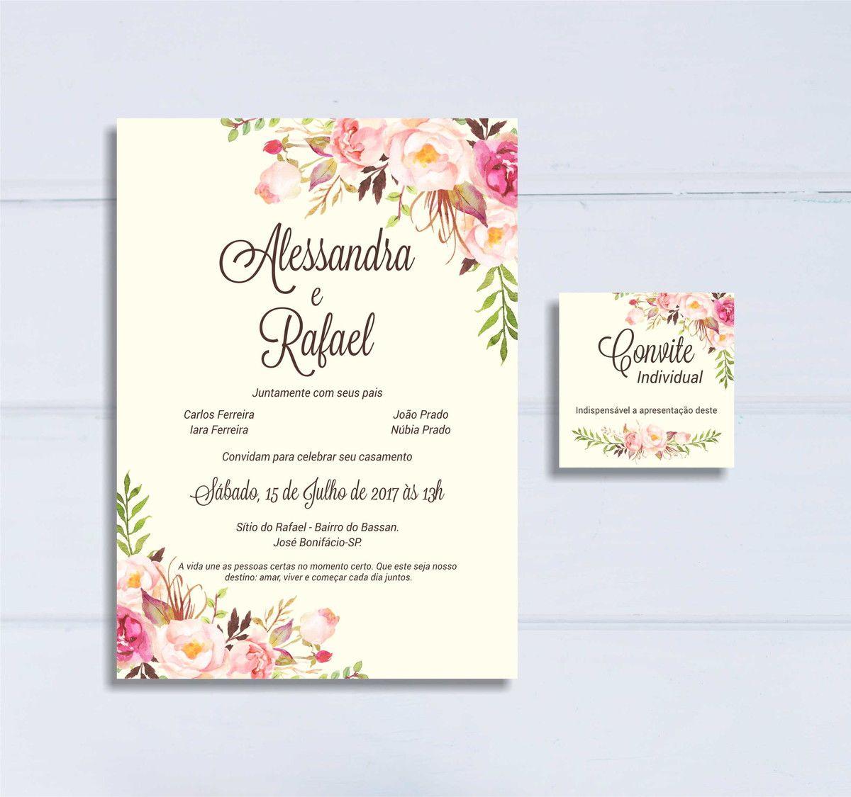 Convite Casamento Floral Rosa Arte Digital Com Imagens