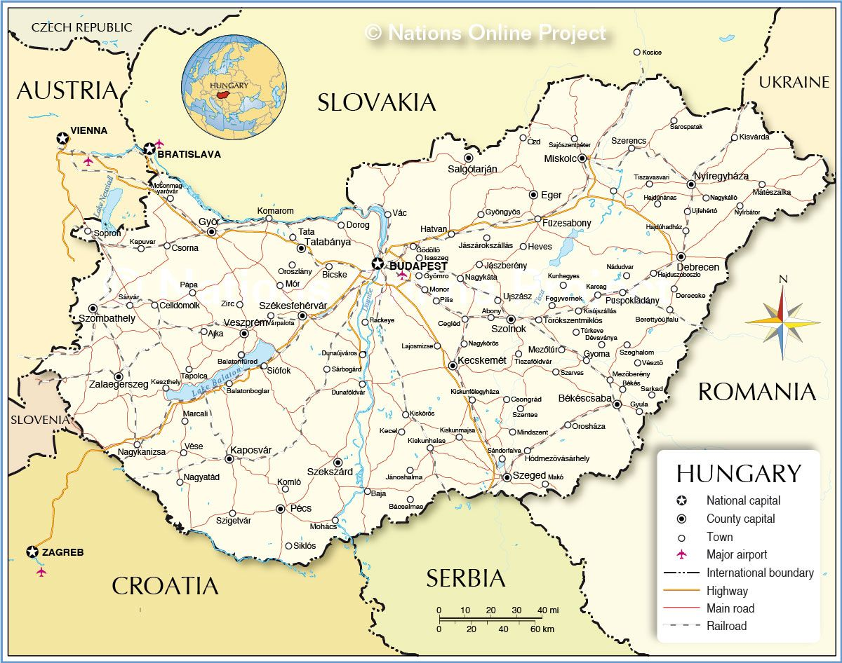Political map of hungary chilboard pinterest city political map of hungary showing the countrys international borders cities and major towns main roads railroads and major airports gumiabroncs Image collections