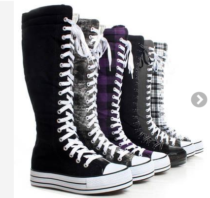 10067a42eb643b Canvas Platform Sneakers Ladies Punk Womens Skate Shoes Lace Up Knee High  Boots