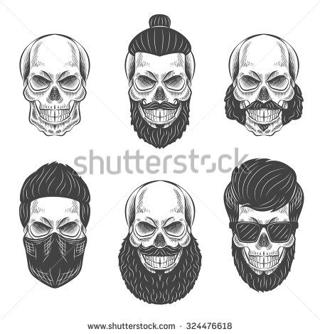 Skulls With Hipster Hair And Beards Fashion Vector Illustration Set Hipster Hairstyles Fashion Vector Skull