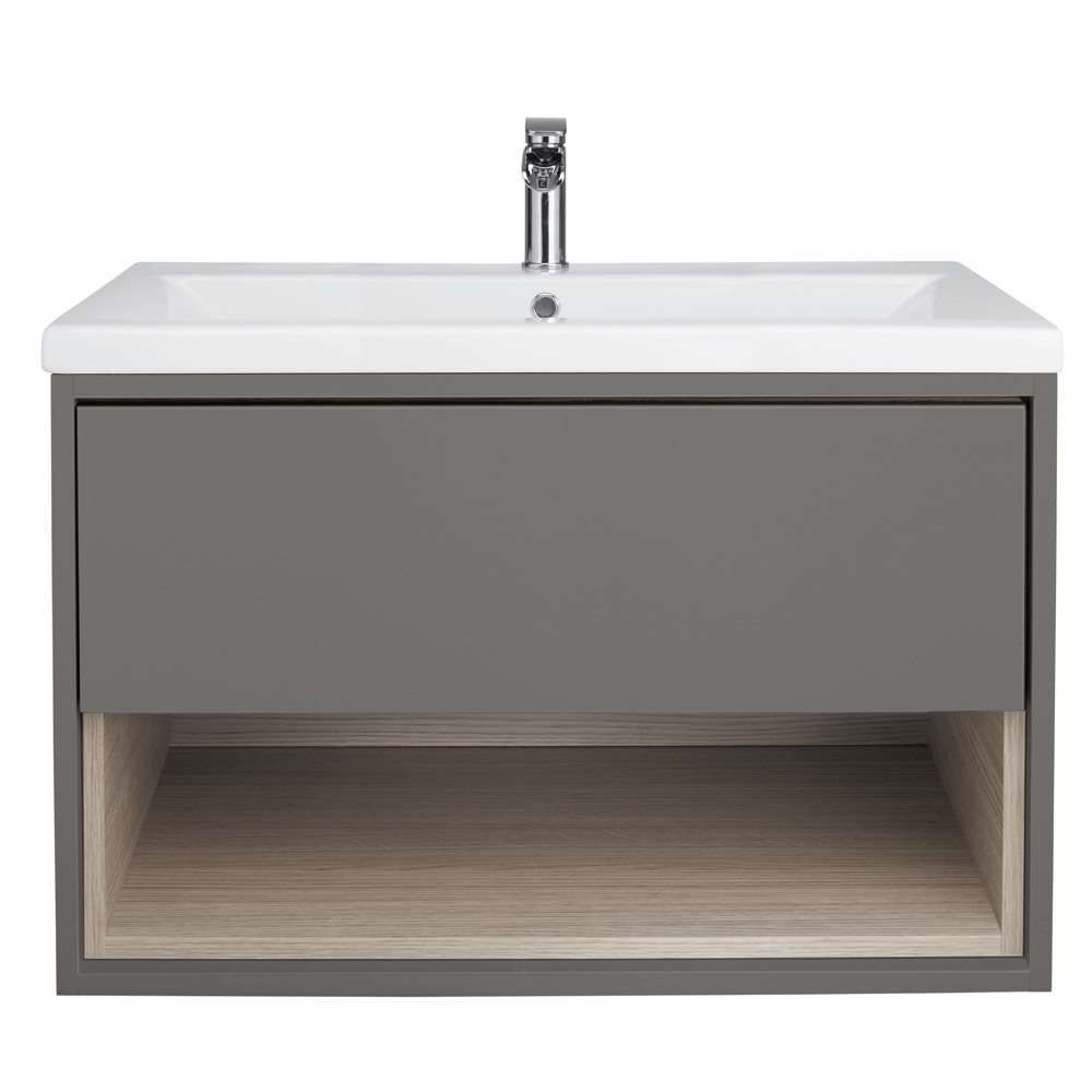 Minimalist gloss white vanity unit 600 800 or 1000mm - Lincoln 600 Basin With Grey And Driftwood Wall Mounted Vanity Unit Bathstore
