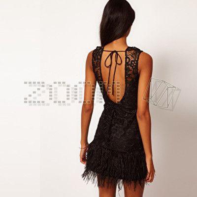 Lipsy V I P @ ASOS wax lace feather dress UK6-12 New!