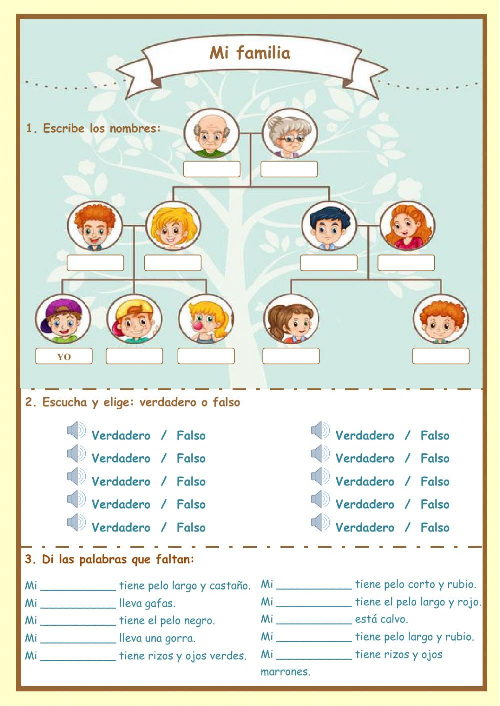 La familia interactive and downloadable worksheet. Check