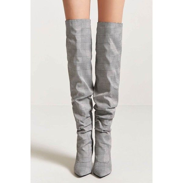 028ef9249cc Forever21 Glen Plaid Thigh High Boots ( 45) ❤ liked on Polyvore featuring  shoes