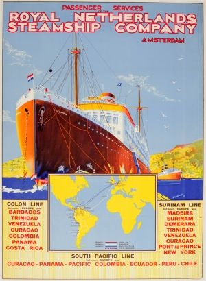 South Pacific Royal Netherlands Shipping, 1930s - original vintage poster listed on AntikBar.co.uk