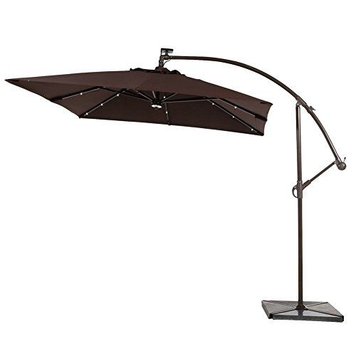 Abba Patio 8 Ft Square Outdoor Solar Powered 32 LED Cantilever Crank Lift Patio  Umbrella With