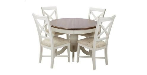 Clermont Round Extending Table & Set Of 4 Cross Back Chairs Entrancing Dfs Dining Room Furniture Inspiration