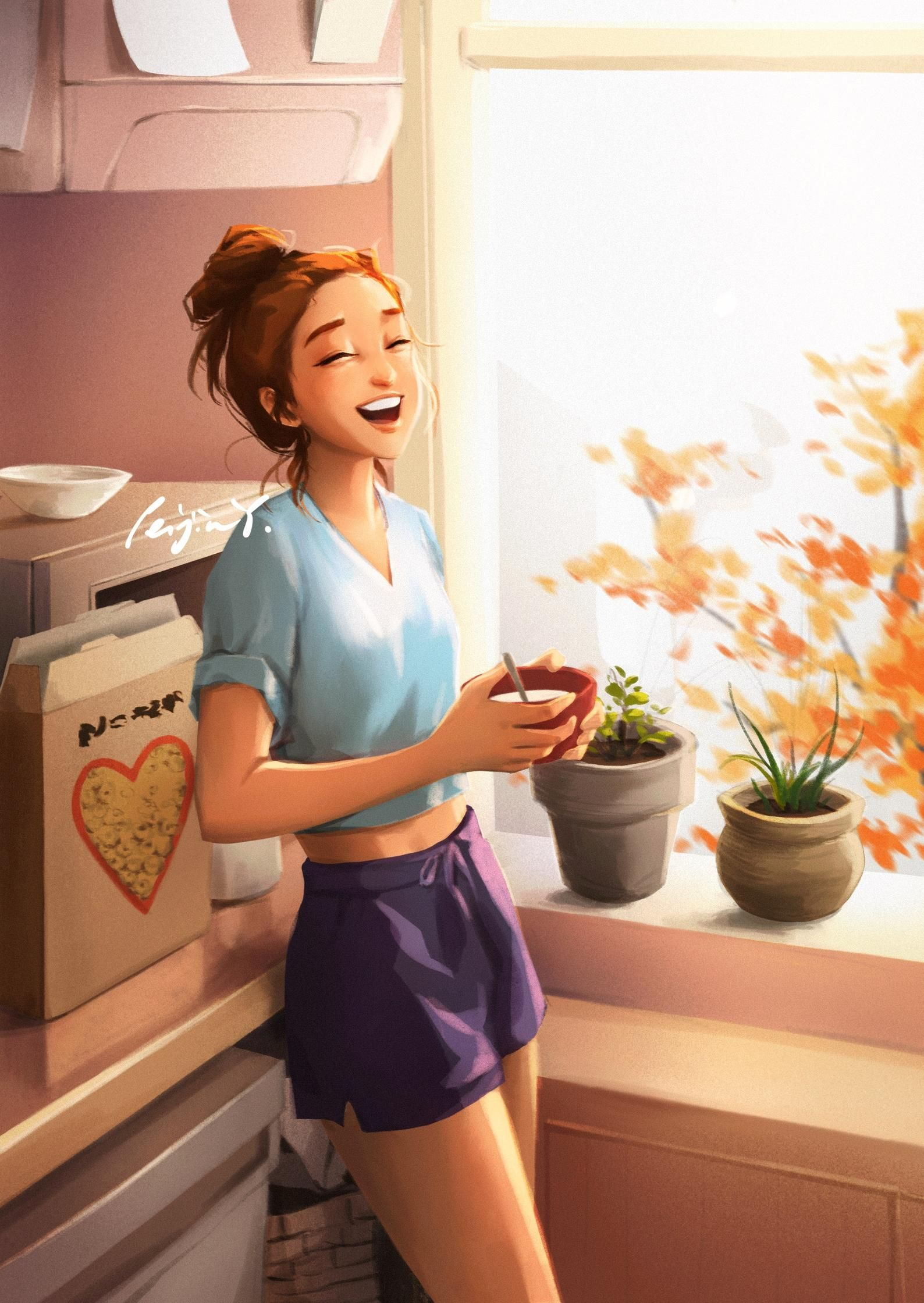 Happy Morning - Art Print - Morning Art - Breakfast Time - In The Kitchen - Cereal Lover - Cozy Home - Peijin