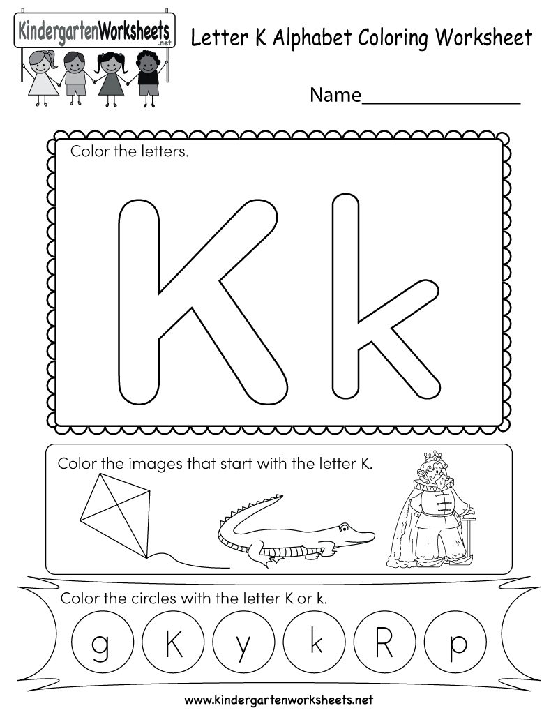 This is a fun letter K coloring worksheet. Kids can color ...