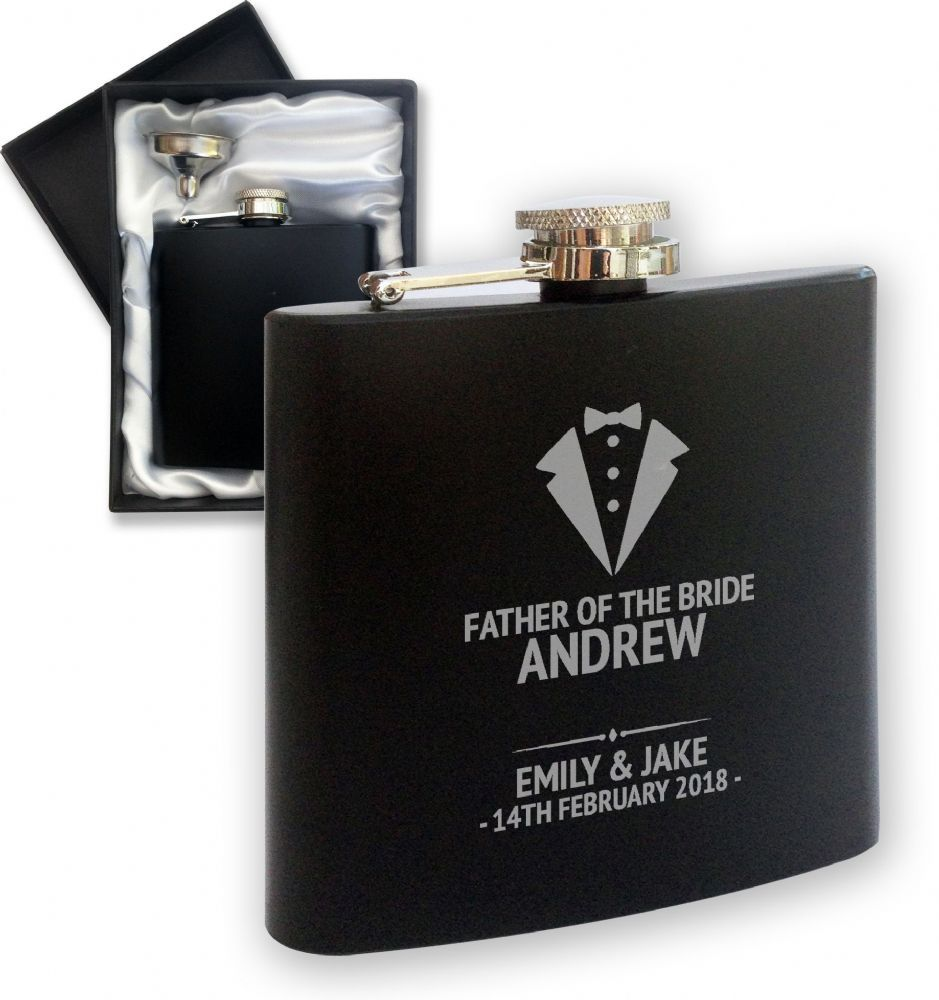 Great Wedding Thank You Gifts Laser Engraved Personalised Hip Flask Birthda...