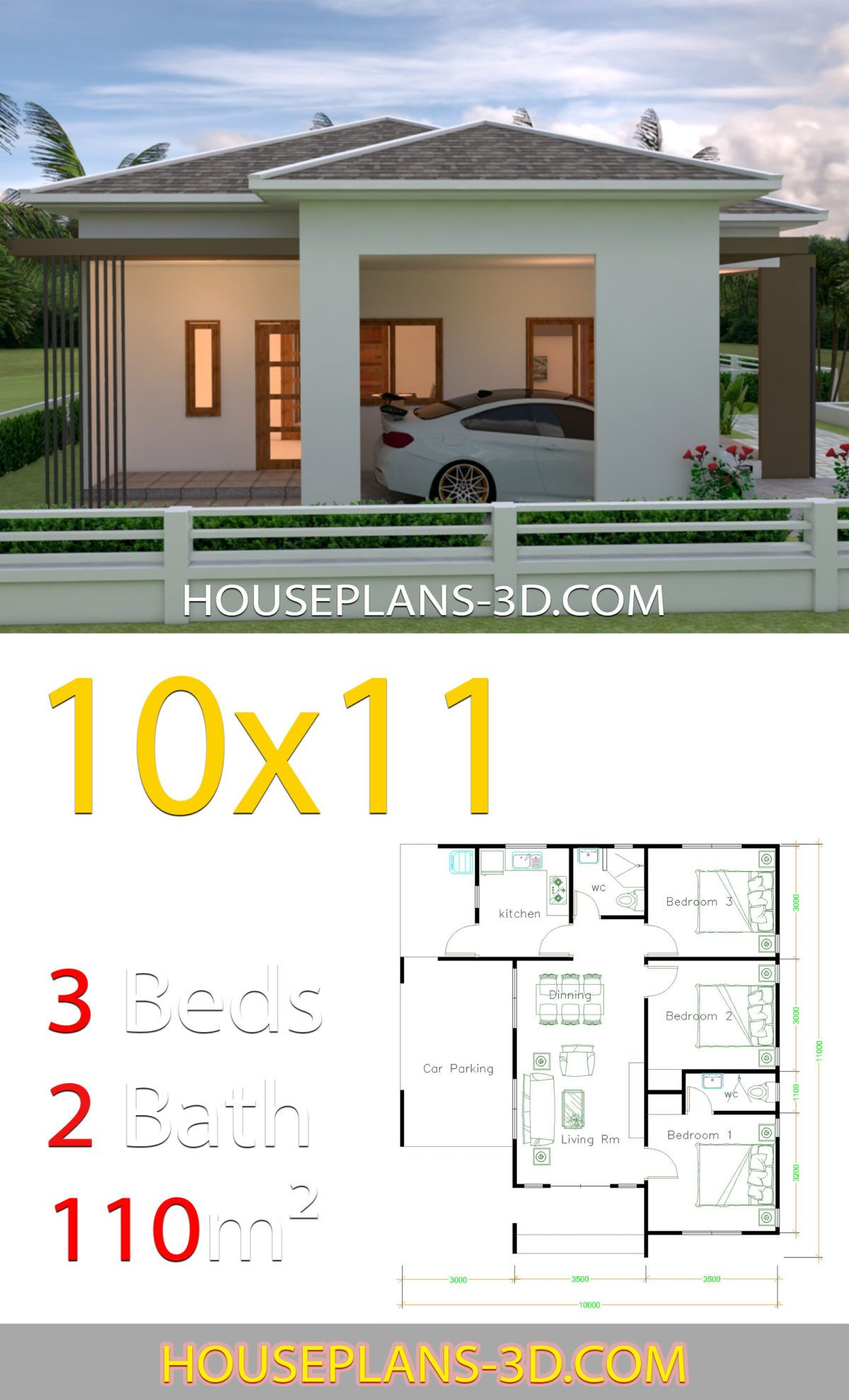 House Design 10x11 With 3 Bedrooms Hip Tiles House Plans 3d In 2020 House Plans Small House Design Plans House Roof