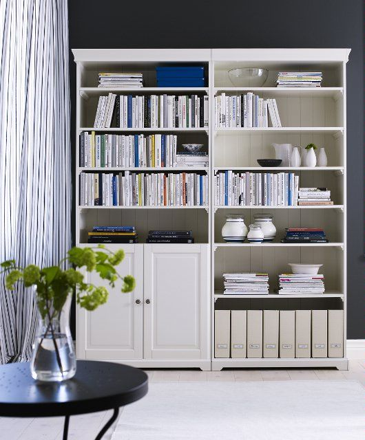Liatorp With And Without Doors White Wood Bookcase Wood