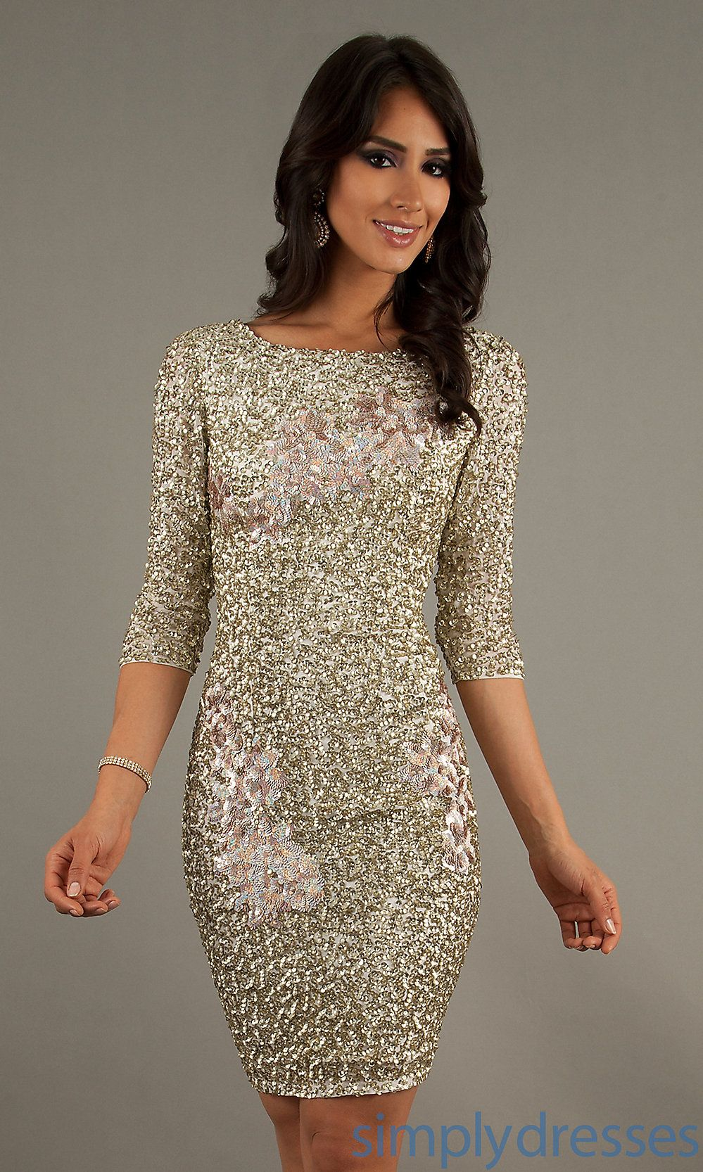 Dress short sequin length sleeve dress simply dresses hck