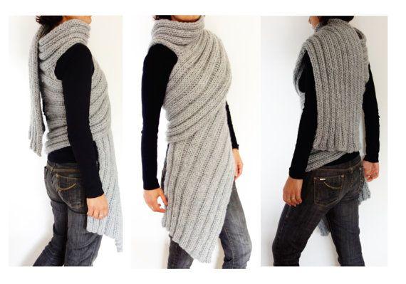 Photo of Wrap Knitting Pattern – Zendeya Inspired Wrap/Bulky Scarf/Super Chunky Poncho/Easy Knit Ribbed Jacket
