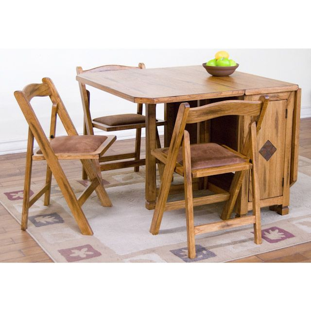 Drop Leaf Table With Folding Chairs Stored Inside Uses And Benefits Goodworksfurniture In 2020 Kitchen Table Settings Drop Leaf Table Folding Dining Table
