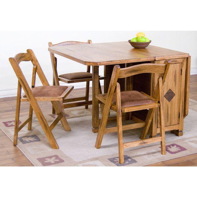 sedona rustic oak five piece dinette set: drop leaf dinette table