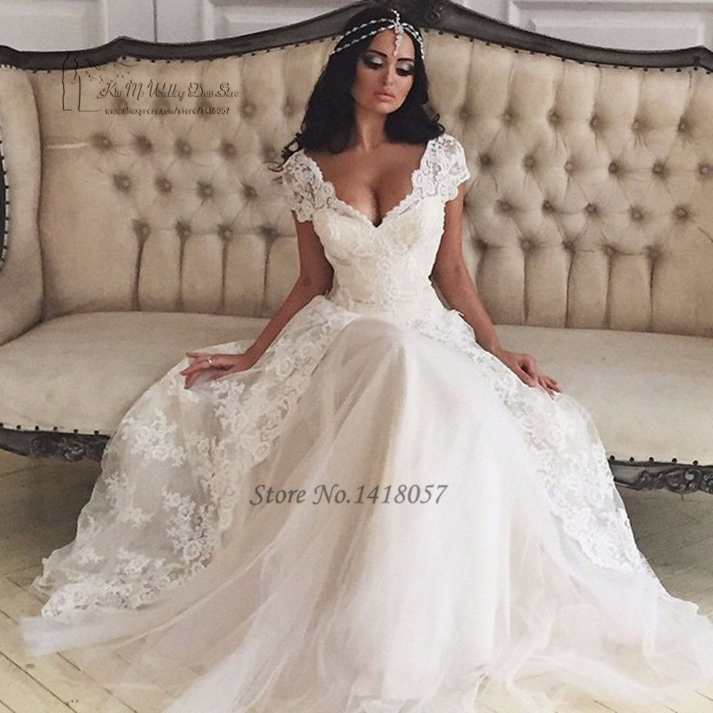 Princess boho wedding dress lace vestido de noiva renda cap sleeve a