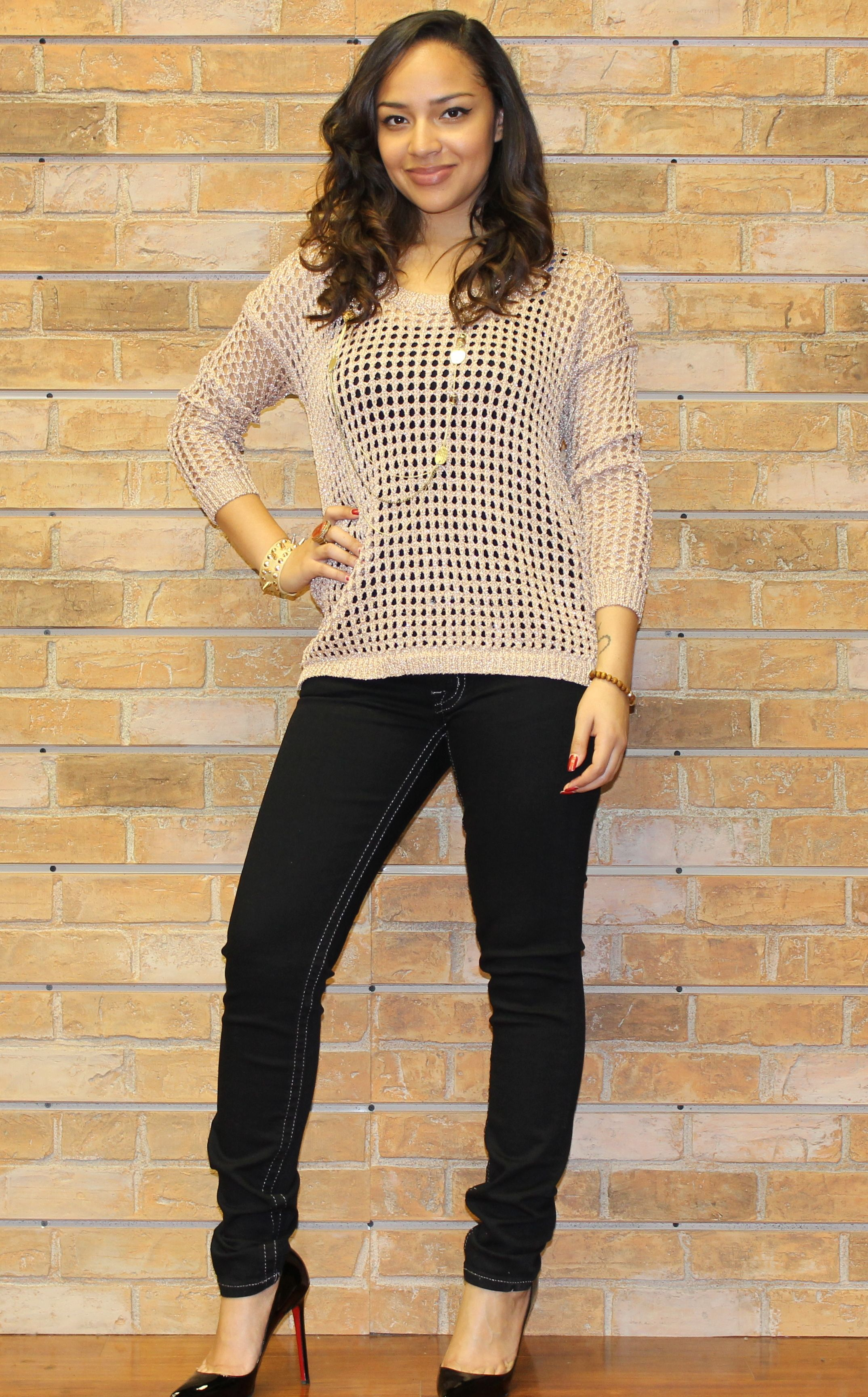 4aaf13378fc16 Tan Mesh Sweater and Black Miss Me Skinny Jeans with Silver Lining ~ Apricot  Lane Boutique South Florida