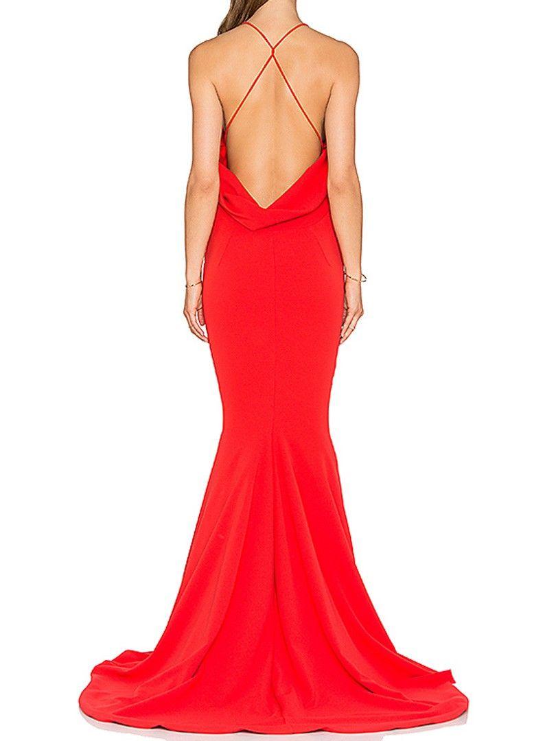 Red vneck ruched backless plain cami floor length dress floor