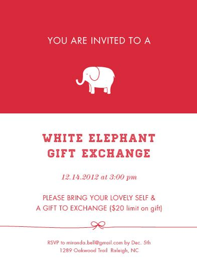 Party Invitations Classic White Elephant Exchange By Elaine