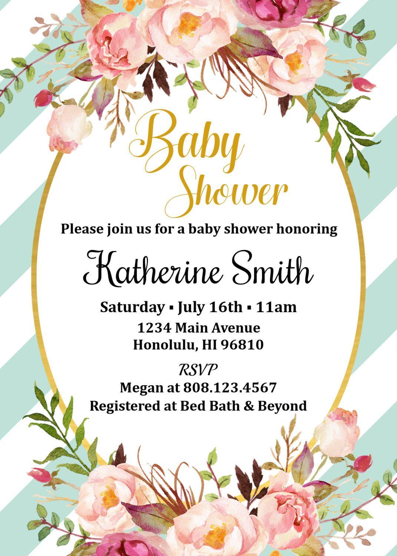Boho Baby Shower Invitation Bohemian Baby Shower Invitation