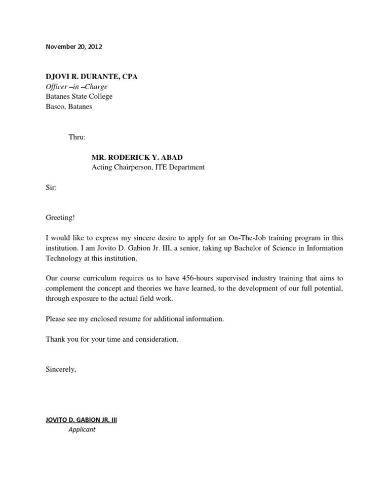 application letter for ojt students may the managersir madam