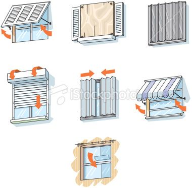 Vector Illustrations Of Different Types Of Window Treatments To Window Protection Hurricane Window Protection Windows