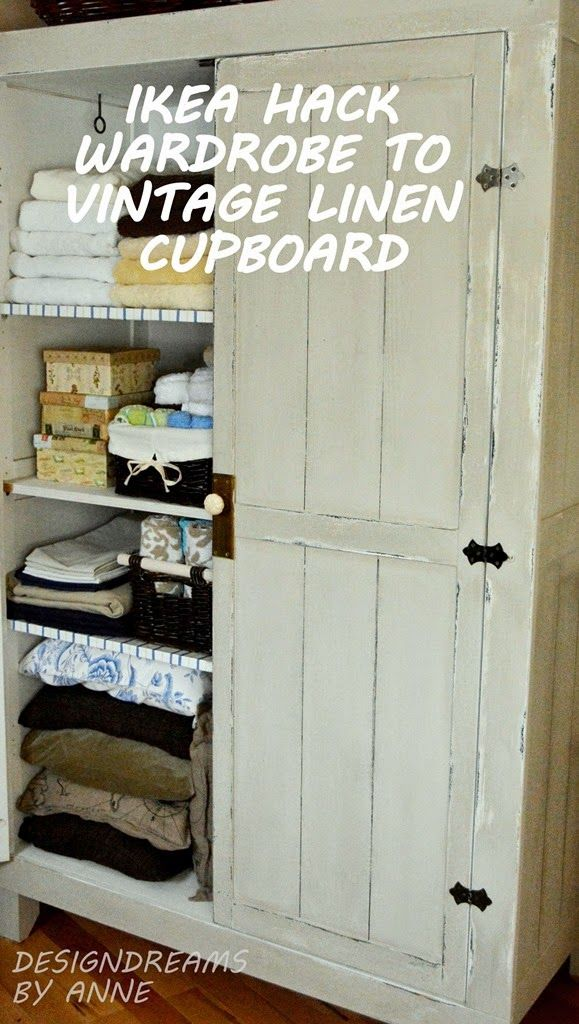 Welcome to my quest to turn my Ikea Stranda wardrobe into a cool, vintage  looking piece of furniture.I've painted and repainted and tried all sorts  of looks ... - Ikea Hack - Wardrobe To Vintage Linen Cupboard Office Hiking
