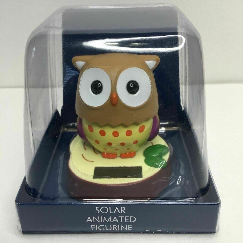 Solar Owl Animated Bird Bobble Head Toy Gift Wildlife Home Office Work Decor Wildlife Decor Gifts For Kids Baby Owls