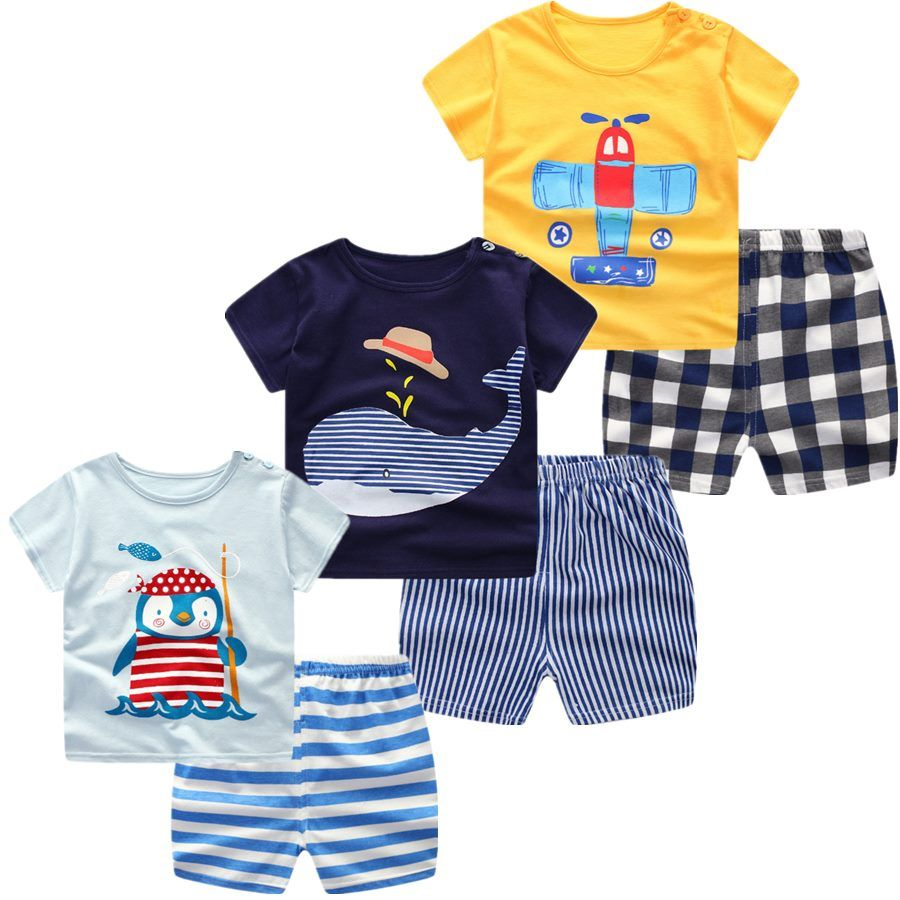 Baby Boys Girls Clothing Set Summer Short Sleeve Cartoon Cotton Infant Newborn Clothes Suit Outerwea Newborn Outfits Baby Fashion Summer Boy Outfits