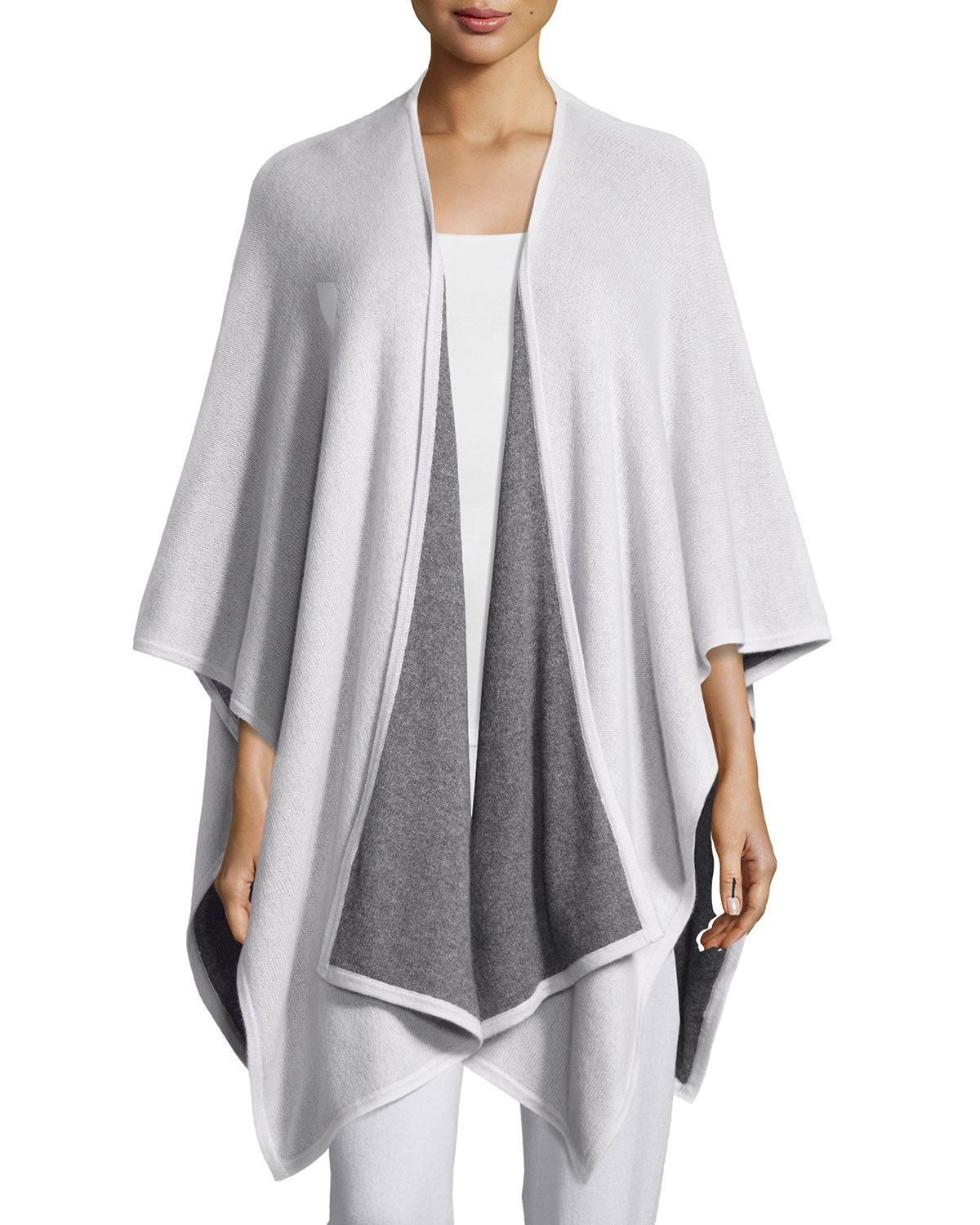 Two-Tone Cashmere Shawl, Women's, Mink/Grey - Neiman Marcus Cashmere Collection
