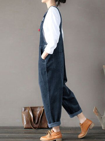 Solid Color Button Pockets Sleeveless Corduroy Jumpsuits Gallery