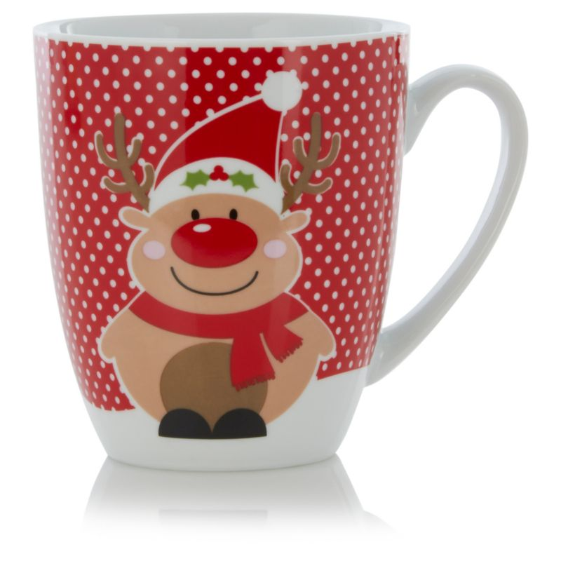 Roly Poly Reindeer Mug With White Polka Dot Background Weihnachten Kaffee