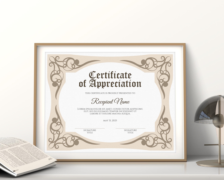 Printable Certificate Of Appreciation Template Editable Etsy In 2020 Printable Certificates Certificate Of Appreciation Certificate Templates