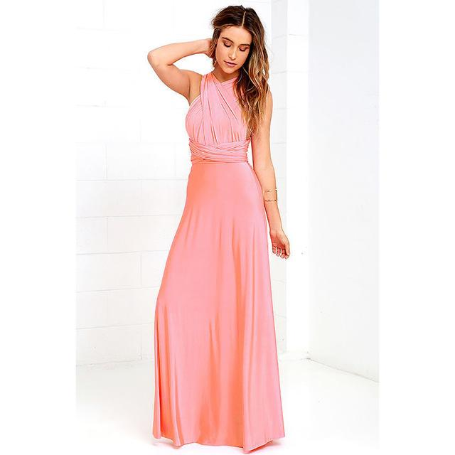 Women Convertible Multi Way Wrap Maxi Dress Backless  d14f40cbaad9