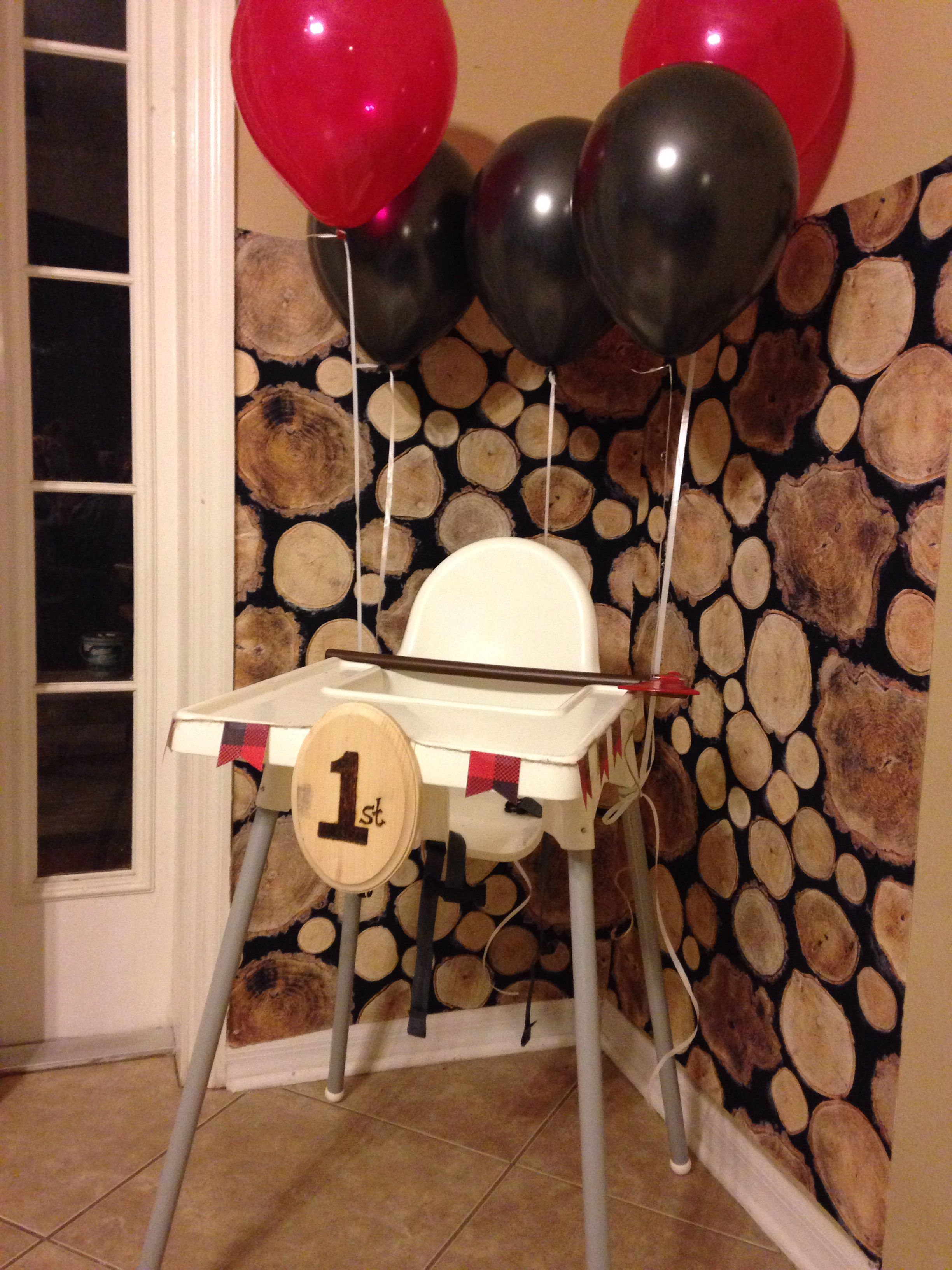 high chair decorations 1st birthday boy eames aluminum lumberjack party
